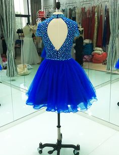 128c452344e Elegant Cocktail Dress High Neck Crystal with Sleeves Royal Blue African Short  Evening Party Homecoming Dress