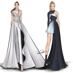 Fashion Design Drawing Two girls slaying in Atelier Versace. at the 2016 British Fashion Awards. at the 2016 AMAs. Dress Design Drawing, Dress Design Sketches, Fashion Design Sketchbook, Dress Drawing, Fashion Design Drawings, Drawing Clothes, Dress Designs, Fashion Model Sketch, Fashion Sketches