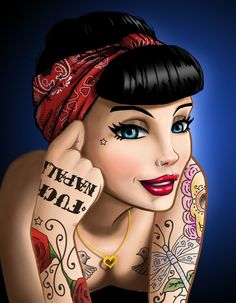 Pin Up Cartoons Rockabilly Fashion Rockabilly Art Body Art Tattoos Tatoos Tattoo Studio Pinup Chicano Art Pin Up Drawings Pinup Art, Rockabilly Art, Rockabilly Fashion, Pin Up Girl Tattoo, Pin Up Tattoos, Girl Tattoos, Disney Kunst, Disney Art, Disney Pin Up