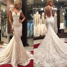 New Mermaid Lace Sexy Unique Design Backless Charming Wedding Dresses. DB0006 #mermaidweddingdresses