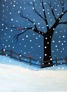 Canvas Painting Projects, Christmas Paintings On Canvas, Simple Canvas Paintings, Canvas Art, Easy Canvas Painting, Kunst Party, Winter Art Projects, Winter Painting, Paint And Sip