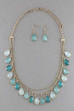 Glitter Glass Necklace Set #necklace #jewellery amusemeboutique.com