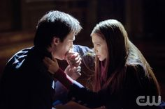 """""""The Murder of One""""-- Pictured (L-R): Ian Somerhalder as Damon and Nina Dobrev as Elena in THE VAMPIRE DIARIES on The CW. Photo: Bob Mahoney/The CW ©2012 The CW Network. All Rights Reserved."""