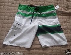 #swimwear for sale: O'Neill men swimming shorts size 34 (swim surf board) NWT white with green withing our EBAY store at  http://stores.ebay.com/esquirestore