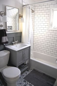 Bathroom - Small grey and white bathroom renovation update Subway tile, grey vanity, recessed cabinet, decorative tile, subway tile Small Bathroom Inspiration, Gray And White Bathroom, Trendy Bathroom, Recessed Cabinet, Bathroom Makeover, Diy Bathroom Remodel, Amazing Bathrooms, Bathroom Flooring, Bathroom Design