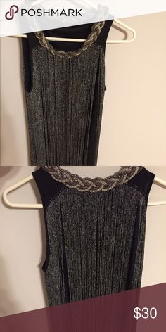Vijiv Gatsby Style Fringe Tassel Cocktail Dress Black with swinging fringe in Silver.  Rope style neckline.  Size Medium.  Perfect for theme party or Cocktail Party. Vijiv Dresses