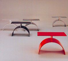 TEA TABLE. Manufacturer; Brueton 1987. Design; Stanley Jay Friedman. Aluminum or Steel + Imron finish.