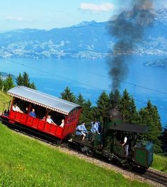 The cog train we took to go up to Mt. Stanserhorn near Lake Lucerne, Switzerland