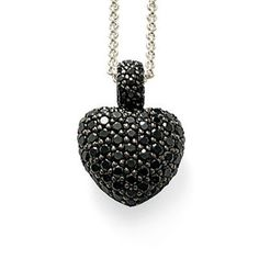 TS 925 Sterling Silver Black Zirconia Heart Necklaces Pendants, Thomas Style Glam & Soul Jewelry Pendant Necklace for Women Men