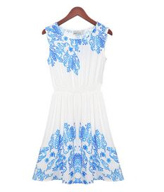 Blue Ethnic Print Tight Waist Sleeveless Chiffon Dress