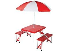 Folding Plastic Picnic Table with Umbrella (53x34x26-in.): Red by Picnic Plus, $86.95