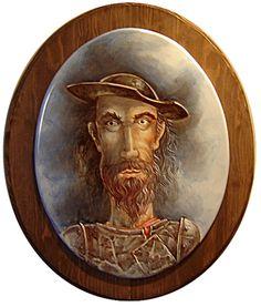 Retrato sobre óvalo cerámico del semblante de el la Triste Figura