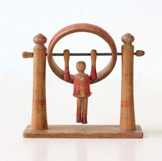 Via Etsy: Vintage Circus Acrobat Primitive Wooden Toy. bellalulu