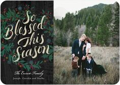 Gratefully Blessed - Flat Holiday Photo Cards - Hallmark - Flint - Gray : Front