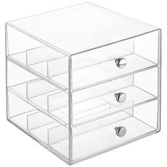 mDesign Stackable Plastic Eye Glass Storage Organizer Box Holder for Sunglasses, Reading Glasses, Accessories - 3 Divided Drawers, Chrome Pulls - Clear Office Supply Organization, Storage Organization, Makeup Storage, Storage Ideas, Household Organization, Craft Storage, Wash Tape, Post Its, Washi Tape Storage
