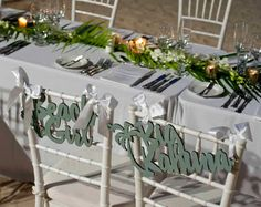 Beach Style Wedding Chair Signs for the Sweetheart Table. The Bride and Groom can really put some personality into their decor while still being chic and classy. These are gorgeous and so cute! <3 | www.ZCreateDesign.com or ZCreateDesign on Etsy