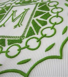 Green and white #Leontine linens