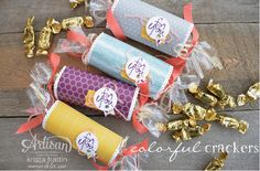 colorful crackers with moonlight designer series paper from Stampin' Up! - Krista Frattin