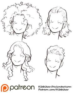 Curly Hair Reference Sheet 2 by Kibbitzer on DeviantArt – Hair Drawing Long Hair Drawing, Guy Drawing, Drawing People, Gesture Drawing, Drawing Faces, Sketch Drawing, Drawing Tips, Drawing Reference Poses, Design Reference