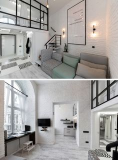 This modern loft apartment features high ceilings, painted brick walls, and a mezzanine with a bedroom and reading room. Brick Bedroom, Bedroom Loft, Bedroom Apartment, Apartment Living, Mezzanine Bedroom, Mezzanine Floor, Loft Room, Bedroom Modern, Small Loft Apartments