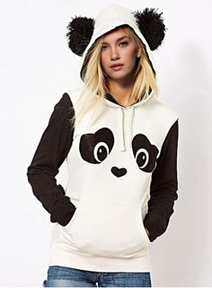 Fresh Style Ear Shape Hooded Panda Print Fleece Pullover Hoodie For Women Sweatshirts & Hoodies | RoseGal.com Mobile