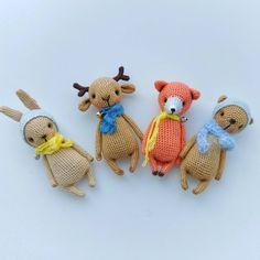 """Discount coupon code - DISCOUNT20OFF Set of four Woodland animal toys Crochet bear toy 🐻 \nbunny 🐰 Deer 🦌 Fox 🦊"""" Woodland Animal Nursery, Safari Nursery, Woodland Animals, Crochet Bear, Crochet Animals, Crochet Toys, Lion Toys, Pet Toys, Bunny And Bear"""