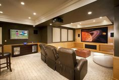 cool basement colors. cool basement ideas. mix match your leather seats with the wall colors and ceiling to c