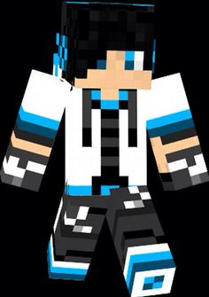 Boy With Black Hair With A Black And Blue Jacketscarfheadphones - Skin para minecraft pe de pedra