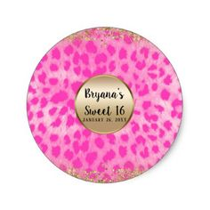 Pink Leopard Cheetah Print Gold Glitter Monogram Classic Round Sticker - bridal party gifts wedding ideas diy custom