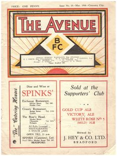 1930s Bradford Park Avenue V Coventry City Official Programme