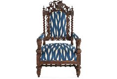 upholstered in custom ikat fabric: not a fan of the chair