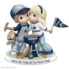 Officially licensed bisque porcelain figurine features a Precious Moments® couple tailgating in Cowboys gear with team logos and colors. Dallas Cowboys Wedding, Dallas Cowboys Women, Cowboys Football, Dallas Cowboys Crafts, Dallas Cowboys Quotes, Football Decor, Football Stuff, Precious Moments Nursery, Precious Moments Figurines