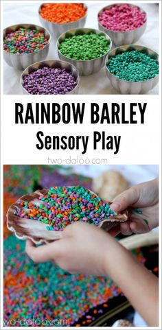 A beautiful invitation to play with rainbow dyed barley and seashells. Great for sensory and imaginative play! Sensory Bags, Sensory Table, Sensory Motor, Sensory Play, Sensory Bottles, Indoor Activities For Kids, Sensory Activities, Infant Activities, Learning Activities