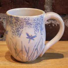 Dragonfly Pottery mug, 8 oz, wheel thrown and hand painted, whimsical