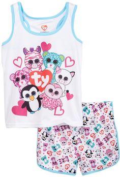 Intimo Beanie Boo Squad Mesh PJ Set (Little Girls & Big Girls)