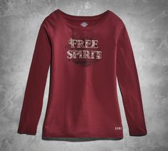 Savor your independence each time you wear this soft jersey women's long sleeve top.   Harley-Davidson #HDBlackLabel Women's Free Spirit Long Sleeve Tee
