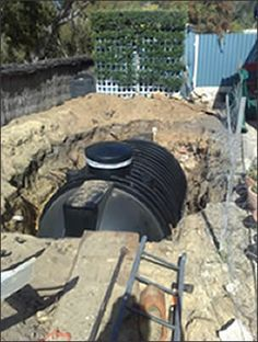 Underground water tank for rainwater harvesting.