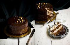 Pumpkin S'mores Cake  (pumpkin-graham cracker chiffon, toasted marshmallow filling w/ dark chocolate ganache topping!)