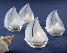 """Set Sail"" Frosted Glass Sailboat Tealight Holders, Set of 4 Beach wedding decor Nautical wedding decor"