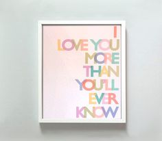 Love You More Print by Gus & Lula - contemporary - artwork - Etsy