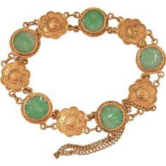 Carved Jadeite Jade 24K Gold Floral Heavy Link Bracelet, 23 grams! Link Bracelets, Jewelry Bracelets, Chinese Mythology, Chinese Culture, Ruby Lane, Solid Gold, Jade, Carving, Jewels