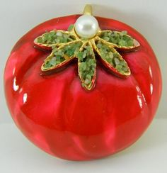 Enamel Tomato Brooch Pin BSK Signed with by QueeniesCollectibles, $27.99