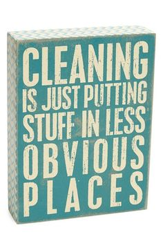 Free shipping and returns on PRIMITIVES BY KATHY 'Cleaning' Box Sign at Nordstrom.com. A rustic box sign stamped with a witty yet honest housekeeping slogan adds a homey touch to any space.