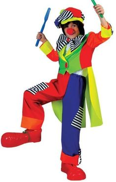 Boy's Costume: Spanky Stripes Clown-Large