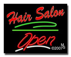 """Hair Salon Open Neon Sign - Script Text - 24""""x31""""-ANS1500-5588-3g  31"""" Wide x 24"""" Tall x 3"""" Deep  Sign is mounted on an unbreakable black or clear Lexan backing  Top and bottom protective sides  110 volt U.L. listed transformer fits into a standard outlet  Hanging hardware & chain included  6' Power cord with standard transformer  Includes 2nd transformer for independent OPEN section control  For indoor use only  1 Year Warranty on electrical components."""