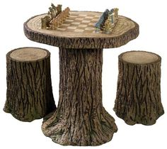 chess set-possibly make one using real stumps---wow!  I have a woodburning set---checkers!!! lol!
