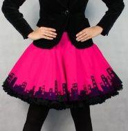 FuFu sukně pink město s černou spodničkou