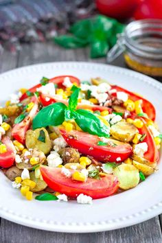 Vegetable Potato Salad is a fantastic alternative to pasta and mayonnaise based Summer salads. This delicious side dish is made with vegetables, fresh Basil and a homemade Balsamic Vinaigrette, it's absolutely amazing.  It's a salad made without pasta that is perfect for anyone on a gluten free diet, and even if your not gluten free, you can't help but love the freshness in this dish.  This delicious potato salad will let you take advantage of your Summer gardens and local fresh produce from…