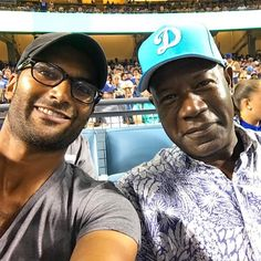 """""""Nothing to see here. Just me & @HaysbertDennis sitting behind home plate at #Dodgers game! @nbcreverie"""" 📸 From Sendhil on Twitter! #SendhilRamamurthy #DennisHaysbert #Reverie"""