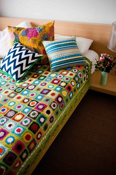 patchwork crochet blanket in cotton